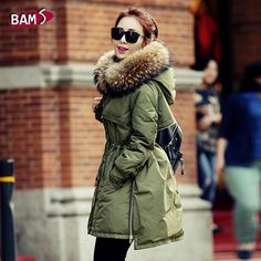 Real Fur Winter Jacket Women Hood Coat 2015 Brand New Big Raccoon Fur Collar Army Green Casual Long Slim Warm Women Parka-in Down & Parkas from Women's Clothing & Accessories on Aliexpress.com | Alibaba Group US $128