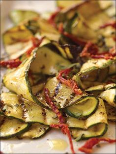 Grill Pan Recipe: Marinated Grilled Zucchini with Oregano and Dried Tomato Vinaigrette,   by Marie Simmons and Sur La Table