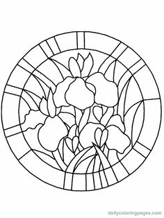 flowers stained glass colouring page