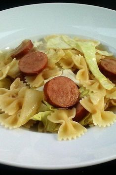 "Cabbage and Smoked Sausage Pasta | ""This was a very quick and easy meal. It tasted wonderful!""  #pasta #pastarecipes #pastainspiration #pastadinner #pastaideas #pastadinner #pastaideas Cabbage Recipes, Pasta Recipes, Cabbage And Smoked Sausage, Yummy Food, Tasty, Baked Ziti, Soups And Stews, Pasta Dishes, Great Recipes"