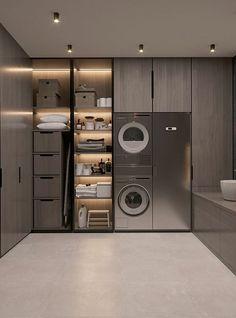 Laundry Room Design, Home Room Design, Dream Home Design, Bathroom Interior Design, Modern House Design, Luxury Kitchen Design, Luxury Kitchens, Luxury Interior Design, Modern Laundry Rooms