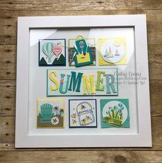 2018 - 2019 Summer Sampler Stampin' Up Box Frame Art, Shadow Box Frames, Collage Frames, Collages, Collage Ideas, Scrapbook Frames, Diy And Crafts, Paper Crafts, Marianne Design