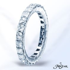 Style 7144 Diamond eternity band handcrafted in pure platinum with 24 perfectly matched radiant diamonds in shared-prong setting. Pure Platinum, Getting Engaged, Anniversary Bands, Diamond Are A Girls Best Friend, Prince Charming, Eternity Bands, Idaho, Bling Bling, Diamonds