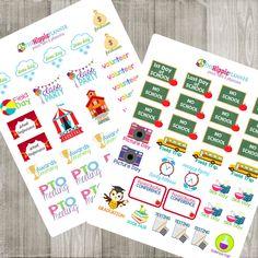 School Event & Important Date Stickers | Back to School Kit | Erin Condren Life Planners, Plum Paper, Filofax, Scrapbooking, Calendars