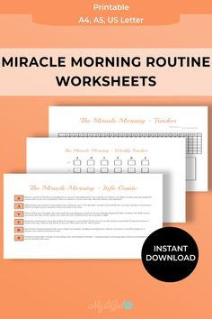 Morning Routine Printable, Morning Routine Chart, Self Development, Personal Development, Printable Planner, Printables, Journal Pages, Journals, Miracle Morning