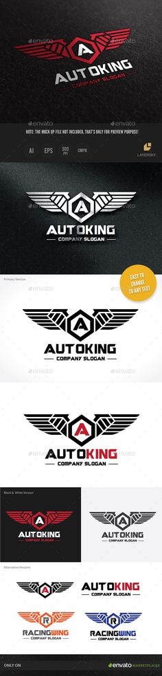 Auto Kinng — Vector EPS #automotive #wing • Available here → https://graphicriver.net/item/auto-kinng/10324165?ref=pxcr