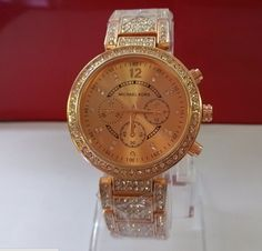 FREE SHIPPING Michael Kors Luxury Diamond Watch Rose Gold | Least-time - Jewelry on ArtFire