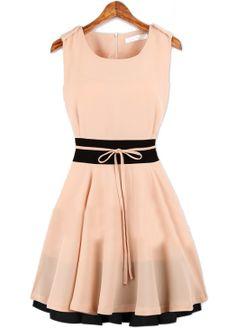 Pink Sleeveless Belt Zipper Pleated Chiffon Dress