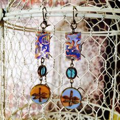 Clay River Earrings featuring Vintaj Copper and by GemJelly