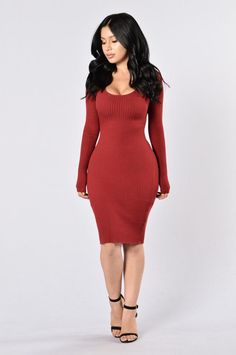 The Hottest Ex Dress - Burgundy