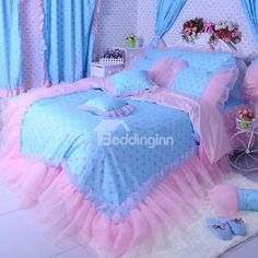 New Arrival Beautiful Pink Dots Print Lace Borders Bed Skirt 4 Piece Bedding Sets  @bedding inn