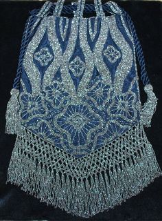 Vintage Cut Steel Silk Embroidered Reticule Purse C. 1920's, 6 x 11 inches