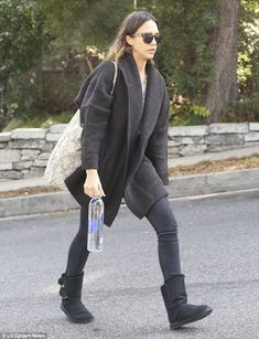 Jessica Alba in Ugg boots as she hurries to her next destination #dailymail