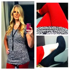 Black & white leopard with red skinnies & black pumps