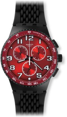 548a0ccd03de Swatch Men s Originals SUSB101 Red Rubber Swiss Quartz Watch Amazing Watches
