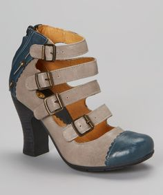 Gold Button Blue & Ash Buckles Leather Pump by Gold Button #zulily #zulilyfinds
