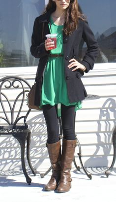 Green H&M dress, leggings, boots, spring outfit 2014