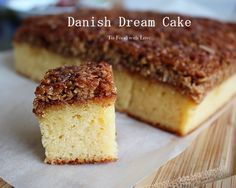 To Food with Love: Danish Dream Cake (Drømmekage). This cake is a coconut-lover's dream come true! A buttery sponge cake topped with caramelized shredded coconut that is sinfully delicious!