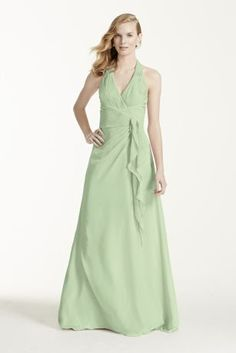 This long chiffon halter is a youthful and flirty dress. The waist gathers  into a ec2b37e52c9b