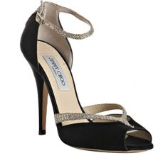 7fe8380579cd Cheap Sale High-end Finest Materials Jimmy Choo Best Quality Lane Glitter  Peep-toe Satin Pumps Black