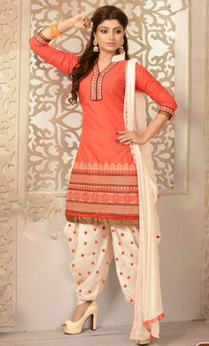 USD 37.55 Salmon Cambric Cotton Punjabi Suit 47274