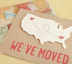"U.S. We've Moved Card - Made with Cricut Explore - Notify friends and family of your new address with a customized ""we've moved"" card. The finished card measures 5.25"" x 6.5"" and comes with a matching envelope. Be sure to click ""customize"" to change the heart locations to fit your specific needs!  xoxo, Anna Rose"