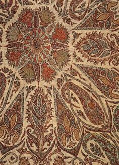 Shawl. Kashmir, India, ca. 1845. Wool twill tapestry weave with embroidery. From the MFA Boston: 34.182