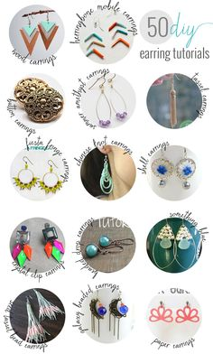 50 Gorgeous DIY Earrings | http://hellonatural.co/50-gorgeous-diy-earrings/