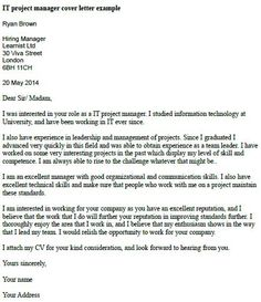 IT Project Manager Cover Letter Example  Cover Letter Project Manager