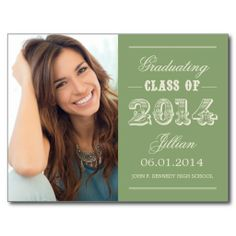 Sweet Vintage Graduation Postcard - Green