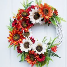 Sunflower Wreath, Summer Door Decor, Gift For Moms , Floral Wreath Indoor Wreath, Outdoor Wreaths, Greenery Wreath, Floral Wreath, Modern Wreath, Modern Nursery Decor, Cotton Wreath, Sunflower Wreaths, All Flowers