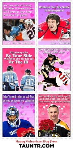 NHL Valentines Day Cards