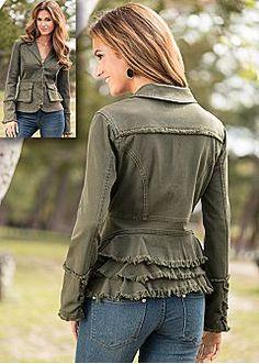 diy ruffle back jacket refashion idea  Women's Coats and Jackets By VENUS