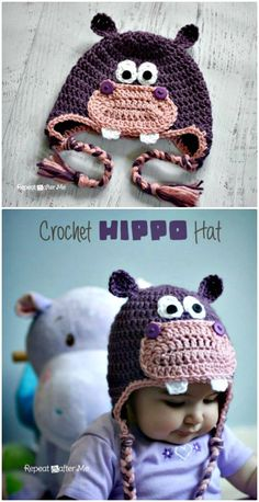 Crochet For Beginners Free Crochet Hippo Hat Pattern - Crochet Hat Patterns - 148 Free Patterns for Beginners - DIY Crochet Unicorn Hat, Crochet Hippo, Crochet Horse, Crochet Kids Hats, Crochet Crafts, Crochet Projects, Free Crochet, Diy Crafts, Easy Crochet