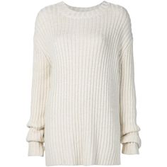 Adam Lippes Oversized Ribber Jumper (17 080 ZAR) ❤ liked on Polyvore featuring tops, sweaters, white, white jumper, jumpers sweaters, oversized tops, oversized jumper and oversized white top
