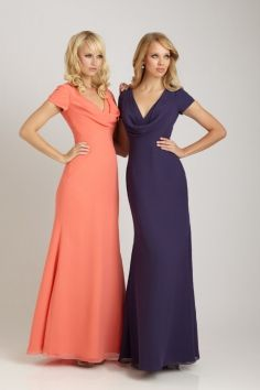 Chiffon Trendy Long Bridesmaid Dresses | They look more like semi-formal gowns rather than bridesmaid dresses, especially with the cowl neck.