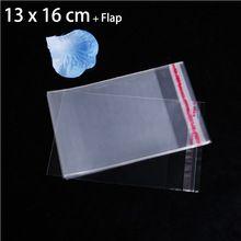"""100 ks 5,12 """"x 6,3"""" Transparentné obaly na potraviny Vrecká na Cookie Candy Cake 13x16cm Clear samolepiace Plastový Chlieb Tašky (Čína (pevninská časť))"""