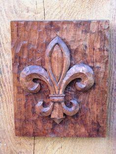 carved wood- Fleur De Lis