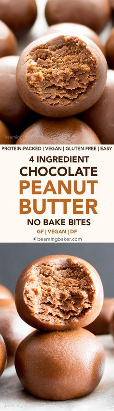 4 Ingredient Chocolate Peanut Butter No Bake Energy Bites Recipe (V, GF): an easy, one bowl recipe for irresistible no bake bites packed with peanut butter and chocolate flavor! #Vegan #GlutenFree #DairyFree #PeanutButter #Chocolate #NoBake #Snacks | Recipe on BeamingBaker.com