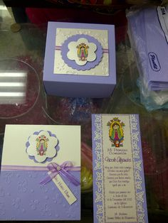 Invitaciones, caja, separador Virgen de Guadalupe