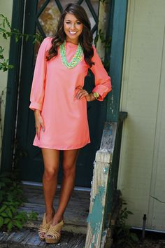 Color Chaos Shift Dress: Neon Peach
