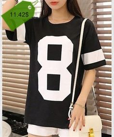 Casual Round Neck Short Sleeve Number Print Color Block T-Shirt For Women