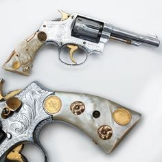 Engraved Smith & Wesson Model 10 - This Smith & Wesson Model 10 .38 Special revolver is both gold & silver plated. But there are mitigating elements.  The grips are real mother-of-pearl with hand-fitted golden horns added & with the price of gold being where it is today – the Mexican gold coins inlaid really help elevate the fair market value of this piece.  It is believed this handgun was customized in Texas. At the NRA National Firearms Museum in Fairfax, VA.: