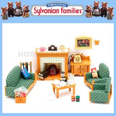 details about new sylvanian families living room furniture set w light up fireplace 35 pieces - Sylvanian Families Living Room Set
