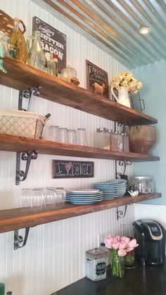 Through My Creative Mind: Farmhouse Kitchen Remodel... open shelves, corrugated steel ceiling, beams, rail cart island, vintage country feel, historic 150 year old house