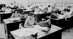 Macie Roberts (standing right, near window) and her computers at work, 1955  (Photograph courtesy of NASA/ JPL-Caltech)