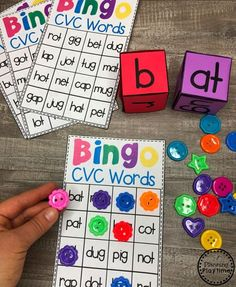 CVC Words Bingo Game - Kindergarten Word WorkYou can find Phonics games and more on our website. Kindergarten Centers, Teaching Phonics, Homeschool Kindergarten, Preschool Learning, Kindergarten Activities, Word Family Activities, Literacy Games, Homeschooling, Literacy Stations