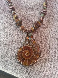 Copper Wire Wrapped Ammonite Fossil Necklace with by FossilJewels