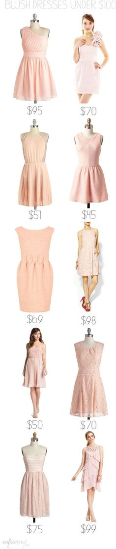 Blush bridesmaids dresses under $100 @Jillian Kelly  Some of these are even on sale.