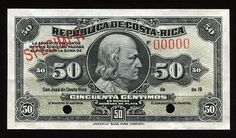 Currency of Costa Rica 50 Centimos Silver Certificate Banknote, Government issue 1902 - 1917